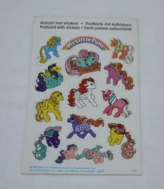 Vintage German Sticker Postcard 2 G1 My Little Pony Baby Twin Twice as Fancy