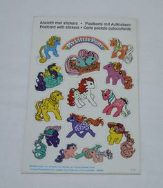 Vintage German Sticker Postcard 2 G1 My Little Pony Baby Twin Twice as Fancy