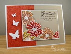 """Thank you card, handmade cards, Stampin' Up **** Stamp set: SU """"Fifth Avenue Floral"""", retired (dup pin)"""