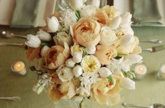 I was thinking white/cream roses and peach tulips but white tulips and peach peonies are even better!!