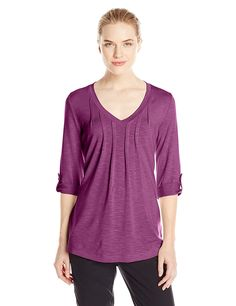 Royal Robbins Women's Noe 3/4 Sleeve Vee Shirt *** Remarkable product available now. : Camping clothes