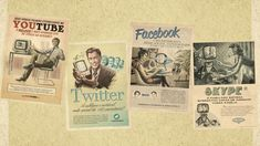 computers Facebook vintage retro technology Youtube Twitter website Portuguese skype old fashion advert  / 1920x1080 Wallpaper