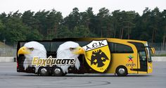 AEK FC bus 2013 Sports Clubs, Athens Greece, Baby Strollers, Coaching, Football, Children, Group, People, Oaxaca