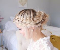 messy+two+french+braid+updo+hairstyle