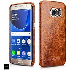 ICARER Samsung galaxy S7 Edge ケース 本革 オイルワックスレザー 全2色 ブラウン 【日本正規代理店品】