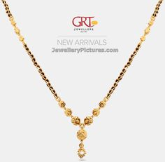 Beautiful jewellery collection of black beads gold chain designs grt jewels. Gold Mangalsutra Designs, Gold Earrings Designs, Gold Chain Design, Gold Jewellery Design, Gold Jewelry Simple, Gold Chains, Jewelry Collection, Beaded Jewelry, Jewelry Shop
