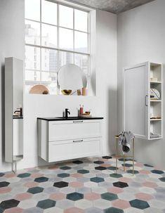 Modern bathroom with mix and match hexagonal ceramic floor tiles nonagon. Bathrooms Remodel, Furniture Inspiration, Ceramic Floor Tiles, Wall Tiles Design, Bathroom Decor, Ceramic Floor, Trendy Home, Tile Floor Diy, Bathroom Furniture Modern