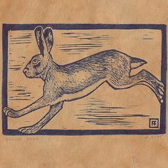 Brown Hare rabbit Linocut by anniefitt on Etsy, $28.00