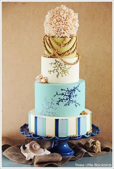 B- I like the top of this cake from the white tier up...  Beach Wedding Cake by Three Little Blackbirds  |  TheCakeBlog.com