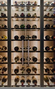 Smallbone of Devizes technical wine wall to display wine upstairs as well as in the cellar. Wine Shelves, Wine Storage, Shelving, Cafe Bar, Caves, Cave A Vin Design, Traditional Wine Racks, Wine Cellar Racks, Home Wine Cellars