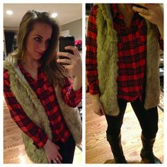 Forever 21 faux fur vest, Target Flannel, Apt9 for Kohl's leggings, Payless rider boots