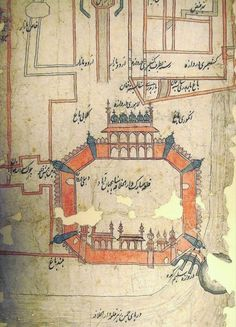 From the Mughal India BLog post '18th century route map from Delhi to Kandahar' Image: The Fort of Delhi and the area to the north (IO Islamic 4725)