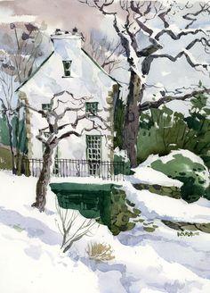 Westmount House by Shari Blaukopf. Watercolor Sketch, Watercolor Landscape, Landscape Paintings, Landscapes, Watercolor Painting Techniques, Watercolour Painting, Kind Of Blue, Urban Sketchers, Country Art