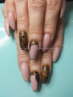 Nude acrylic nails with abstract rose nail art with vpp polishes