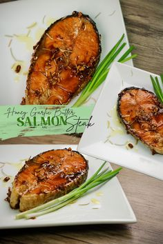Honey Garlic Butter Salmon Steak - Salmon Recipes ( Fish Recipes ). This Salmon Steak Recipes is made of Salmon Fish, Fry ( pan seared ) with olive oil, butter added with garlic, honey and rosemary.  #Honeygarlicbuttersalmon #buttersalmonsteak #salmonrecipes Salmon Steak Recipes, Pork Recipes, Fish Recipes, Pork Menudo Recipe, Tikoy Recipe, Garlic Salmon, Pork Stew, Butter Salmon, Fish Dishes
