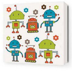 retro robot , kids