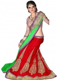 Wedding Wear Red Net Embroidered Work Lehenga Choli