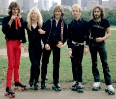 1981 The Metal Rock Band Judas Priest on Roller Skates Skating - Central Park, NYC, NY - photo by Michael Putland