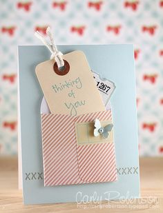 scrapbooking card with tag! My kinda card *Wink, Wink* Scrapbooking, Scrapbook Paper Crafts, Scrapbook Cards, Some Cards, Get Well Cards, Card Tags, Creative Cards, Greeting Cards Handmade, Diy Cards
