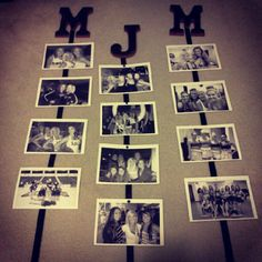 Wooden letters and photos - would even be cuter to spell out your last name and hang the family photos