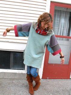 Upcycled Clothing Eco patchwork SHIRTcowl neck tunic box by zasra, $70.00
