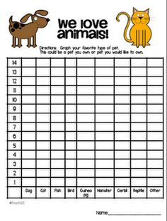 Pets: Social Studies FREE graph: We love animals - great activity for beginning of the year Elementary Math, Kindergarten Math, Teaching Math, Teaching Ideas, Maths, Graphing Activities, Math Games, Preschool Graphs, Numeracy