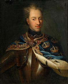 """King Charles-Karl XII (1682-1718) Sweden in military dress by unknown artist. During the Great Northern War, the young Swedish king defeated all his enemies except Russia with brilliant campaigning & startling victories that bought Sweden to the pinnacle of her prestige & power, earning him the epithet """"last of the Vikings,"""". Led by Tsar Peter I The Great Alexeyevich Romanov (1672-1725) Russia the Russian army ended the war by defeating the Swedish King & crushing Sweden's future military…"""