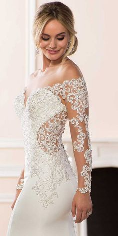 Stella York off the shoulder wedding dress with long sleeves #weddingdress