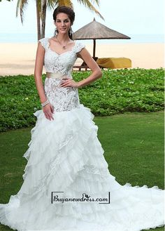 Alluring Satin&Tulle&Organza A-line Queen Anne Neckline Dropped Waistline Wedding Dress