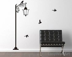 Street Lamp Wall Decal, Street Lamp Decal, Vinyl Lamp Wall Art for Living room, Bedroom, Lamp Offic Office Wall Decals, Modern Wall Decals, Bird Wall Decals, Bird Wall Art, Living Room Wall Stickers, Diy Wall Stickers, Simple Wall Paintings, Wall Painting Decor, Wall Drawing