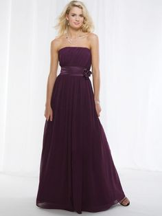 A-line Strapless Grape Hand-Made Flower Chiffon Floor-length Prom Dress at Millybridal.com