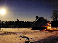 Suomalainen joulu: Jouluyön kuutamo Christmas Night, Finland, Cabins, Cottages, Magic, Seasons, Change, Photos, Pictures