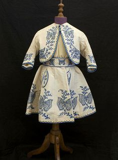 Child's 3-piece embroidered silk ensemble, c.1865, from the Vintage Textile archives.