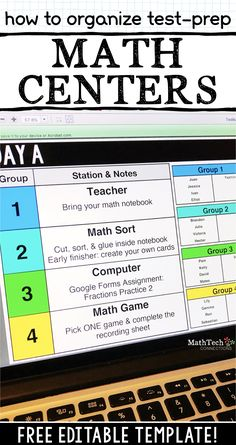 How to Organize Test Prep Math Centers Organize your math groups with this editable template. Math workshop groups can also Maths Guidés, Math Classroom, Teaching Math, Math Math, Math Fractions, Math Games, Year 6 Maths, Math Teacher, Classroom Ideas