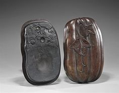 """Unusual form, Chinese inkstone; with design of squash or mellon on a foliate vine, the wood casing carved as melon form with leaf (some wear and some warping); L: 11 1/2"""""""