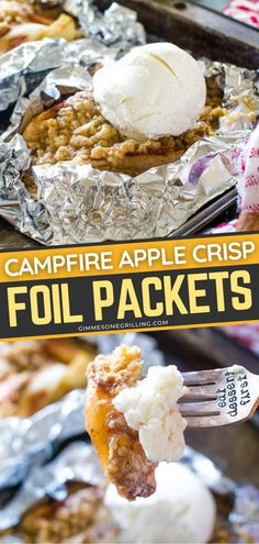 This easy dessert recipe makes a great camping food idea! Foil packets stuffed with your favorite apple crisp made of apples and oatmeal streusel on the grill over the campfire, or in the oven! Serve your Campfire Apple Crisp Foil Packets with ice cream! Foil Packet Desserts, Foil Packet Meals, Foil Packets, Best Apple Recipes, Apple Crisp Recipes, Fun Easy Recipes, Grilled Desserts, Delicious Desserts, Baking Recipes