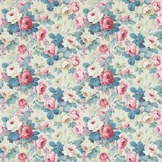 A vintage rose bouquet, in pink and indigo on a beige background. By Ian Sanderson, Buy online today. Rose Wallpaper, Print Wallpaper, Fabric Wallpaper, Pattern Wallpaper, Chelsea Wallpapers, Sanderson Fabric, Shabby Chic, Painted Rug, Backgrounds