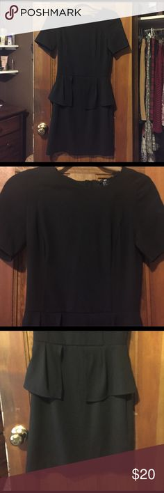 H&M Little Black Dress Very cute short sleeve dress with a ruffles on the sides! Has a zipper that goes down in the back. The size says 6, but honestly it fits like a 2. I wear a size 4 in dresses, and I couldn't zip it up! If you have questions let me know! H&M Dresses