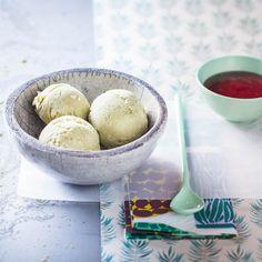 Glace au thé vert et coulis de cerise Matcha, Granita, Sorbets, Ice Cream, Eggs, Breakfast, Food, Frozen Desserts, Grout