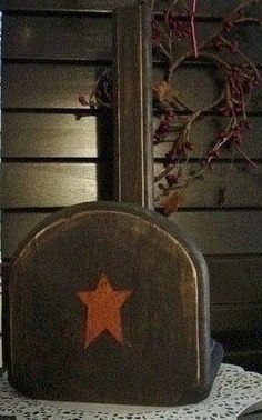 Primitive star black paper towel holder wood country handmade craft on Etsy, $9.99