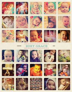 Instagram photos become a poster of baby's first year (for those of us who are - or will likely be - slackers on the month-by-month photo front)
