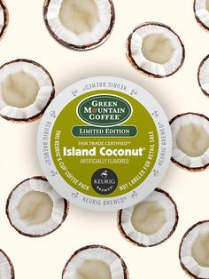 Indulge your senses with the lush aroma and sweet, creamy taste of our Green Mountain Coffee Island Coconut Coffee K-Cup pod!