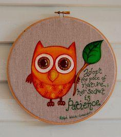 Owl inspiration hoop art by littlebugart on Etsy, $28.00