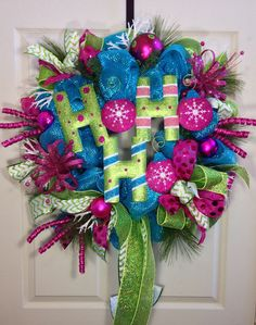 Candy Land Christmas Mesh Wreath on Etsy, $110.00