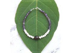 Náramek s Ametystem & Granátem Summer Bracelets, Linux, Beaded Necklace, Names, Green, Jewelry, Fashion, Beaded Collar, Moda