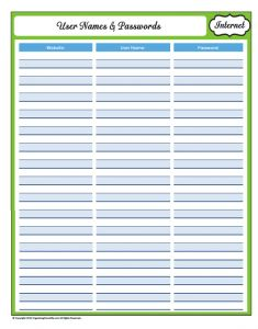 user name and password cheat sheet
