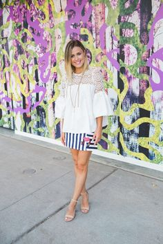 Chic wish Summer Look   Bell Sleeves top   Graphic Mini Skirt   Uptown with Elly Brown