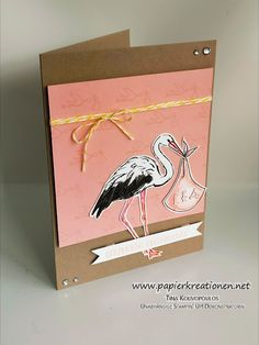 handmade baby card from Papierkreationen.net ... great coloring job turns flamingo into a stork to carry a baby bundle .. Stampin' Up!