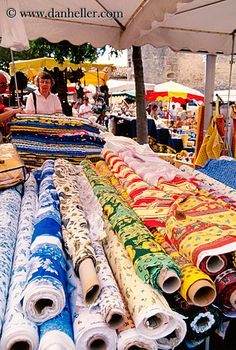 Provencal fabrics at a Nice market, not to mention the fabulous spices & flowers that I saw! One of my favorite markets in France.