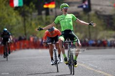 Toms Skujins of Latvia, riding for team Cannondale Pro Cycling celebrates after winning stage five of the Amgen Tour of California from Lodi to South Lake Tahoe on May 19, 2016 in South Lake Tahoe, California. #amgentoc #rm_112